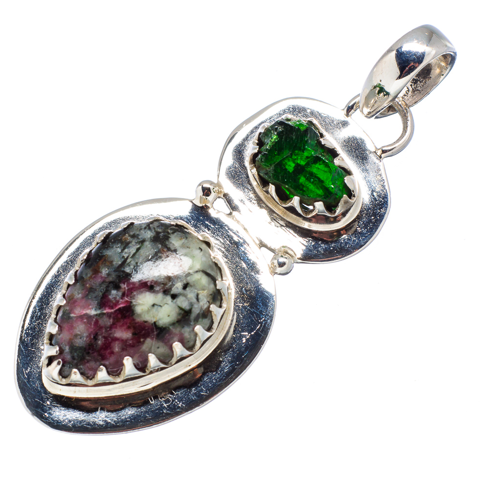 """Ana Silver Co Russian Eudialyte, Green Tourmaline 925 Sterling Silver Pendant 2"""" PD601691 by Ana Silver Co."""