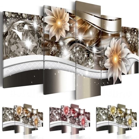 Christmas Home Decor - 5PCS/Set Diamond Flower/Lilies Picture Wall Art Canvas Prints Modern Abstract Home Sticker Decor No Frame Christmas Gift