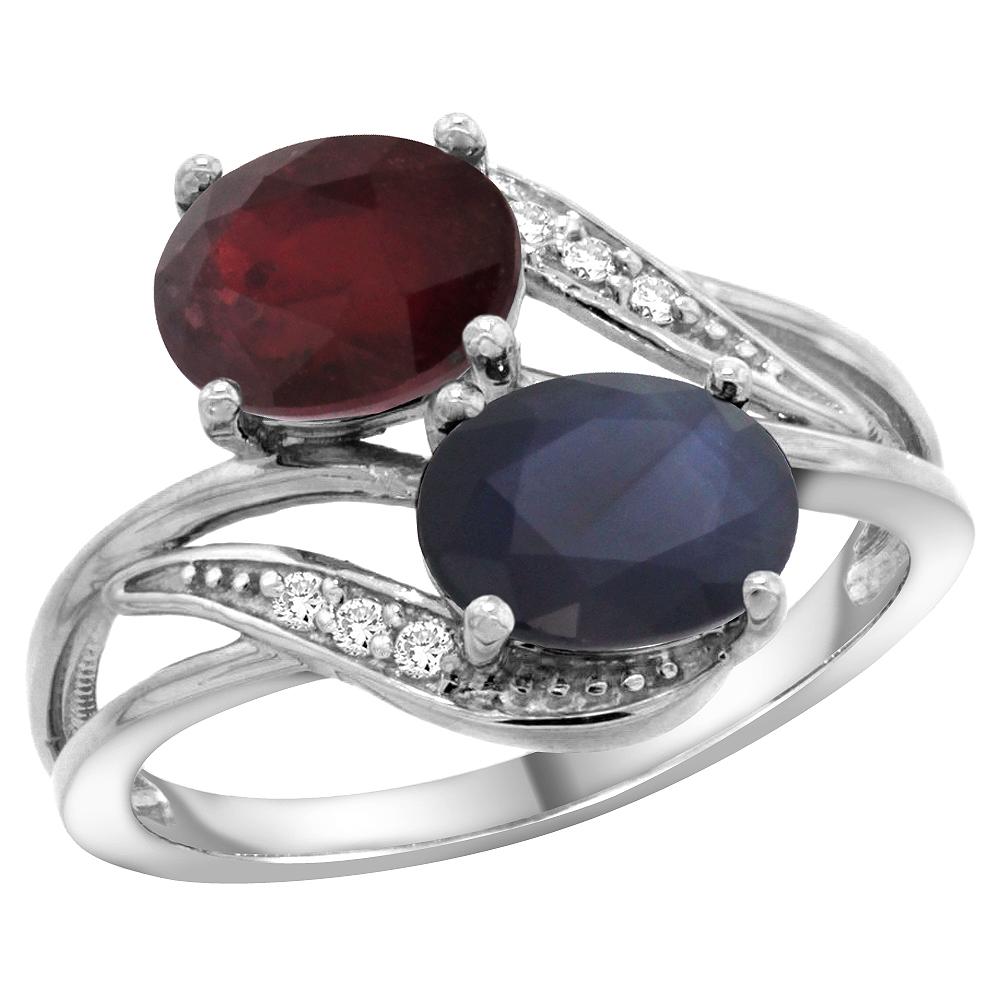 14K White Gold Diamond Natural HQ Ruby & Australian Sapphire 2-stone Ring Oval 8x6mm, size 6.5 by Gabriella Gold