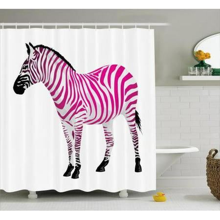 Pink Zebra Shower Curtain Figure In Stripes Savannah Animal Wilderness Symbol Safari Print