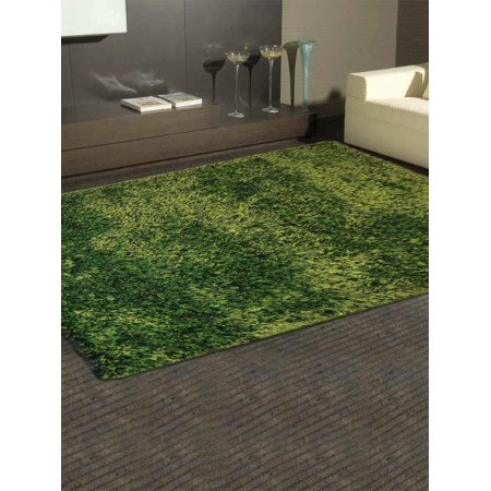 Rugsotic Carpets Hand Tufted Shag Polyester 6'x9' Area Rug Solid Green K00108 Hand Tufted Olive Green