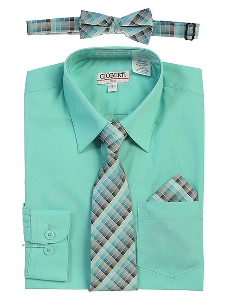 Gioberti Big Boys Mint Tie Bow Tie Handkerchief Dress Shirt 4 Pc Set