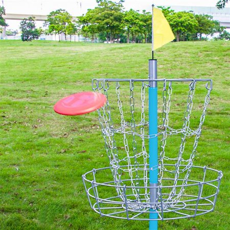 Yaheetech Portable Disc Golf Basket Lightweight Double Chains Portable Practice Target Steel Hole Disc Golf Goals Catcher