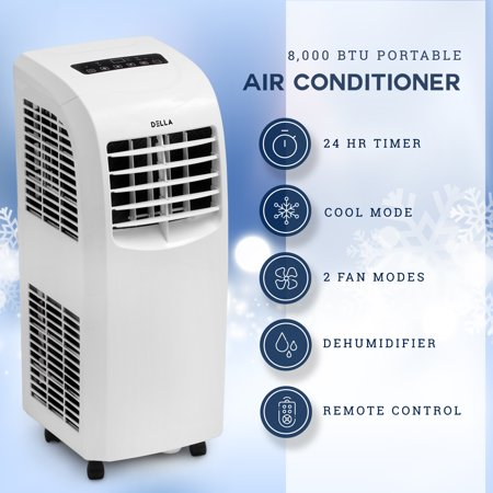 Della Portable Air Conditioner Cooling Fan 8,000 BTU Dehumidifier A/C Remote Control w/ Window Vent (Window Vent Kit For Lg Portable Air Conditioner)