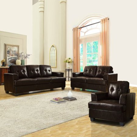 Keaton bonded leather 3 piece sofa set brown walmartcom for Eurodesign brown leather 5 piece sectional sofa set