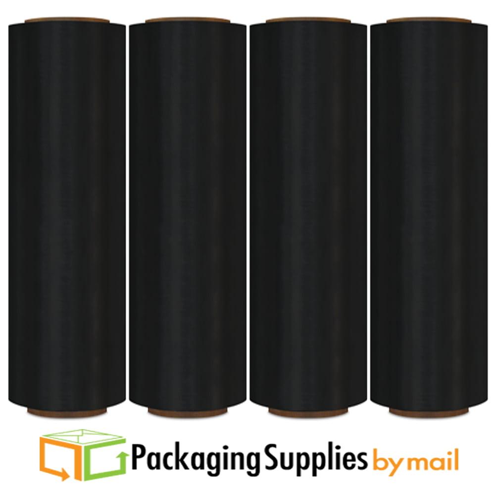 "17"" x 1476' 8 Rolls Black Colored Pallet Wrap Stretch Film Hand Wrap"