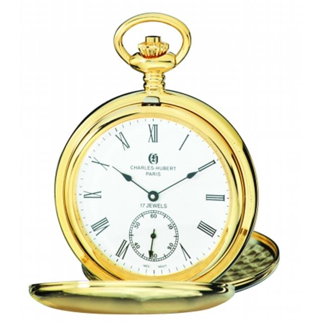 Charles-Hubert Paris 3908-GR Brushed Finish Gold-Plated Stainless Steel Double Cover Mechanical Pocket Watch