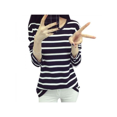 Nicesee Womens Casual Striped Long Sleeve Blouse Loose Cotton Tops
