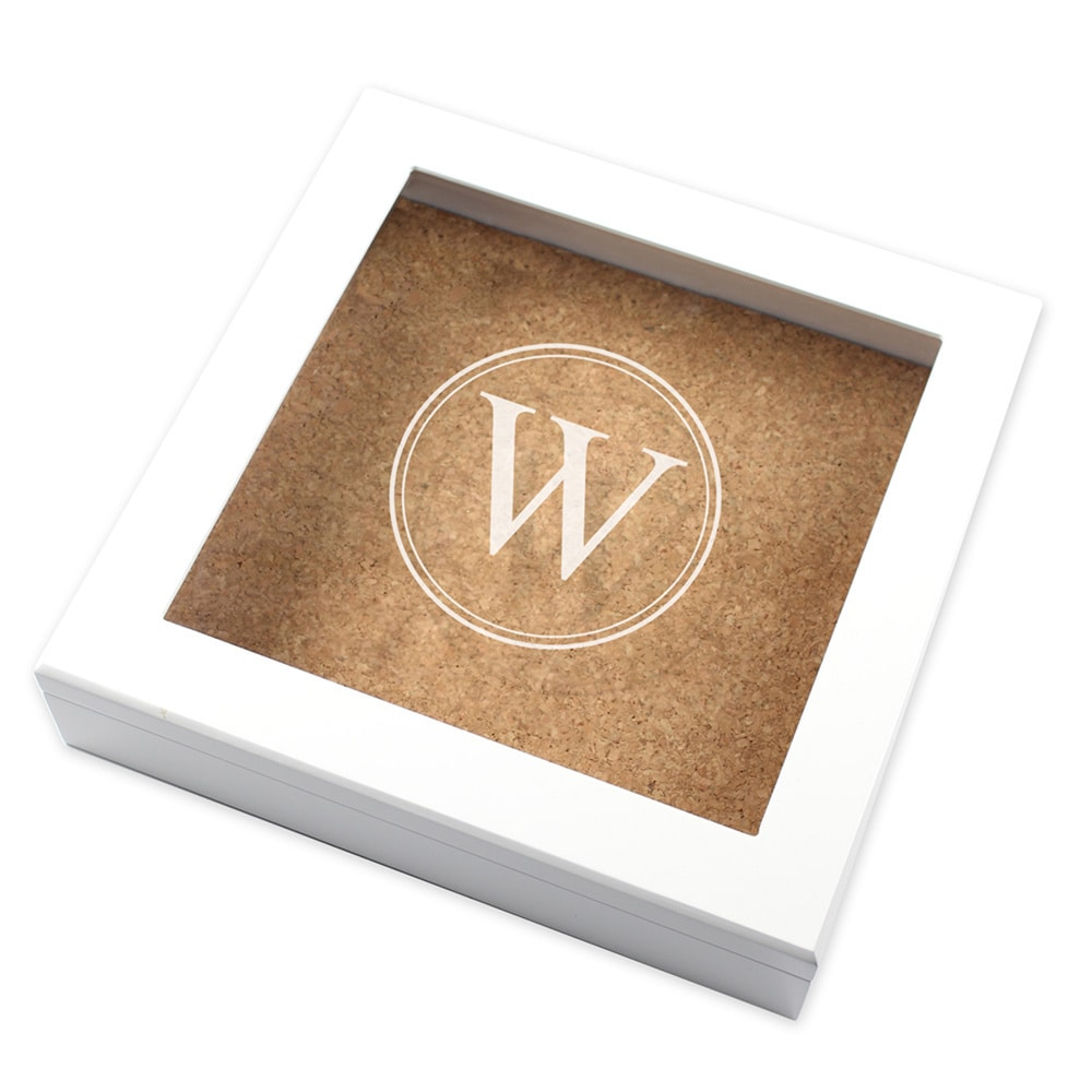 Custom Engraved Keepsake Box w/ Cork Board / White White ...