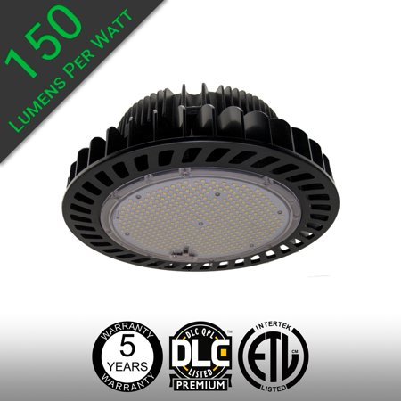 UFO LED High Bay Light 150W 22,500 Lumens DLC Premium and UL Listed 150 lumens per watt Commercial Industrial High Output LED Light for Warehouse, Manufacturing, Shop Light, Retail, and high ceilings.