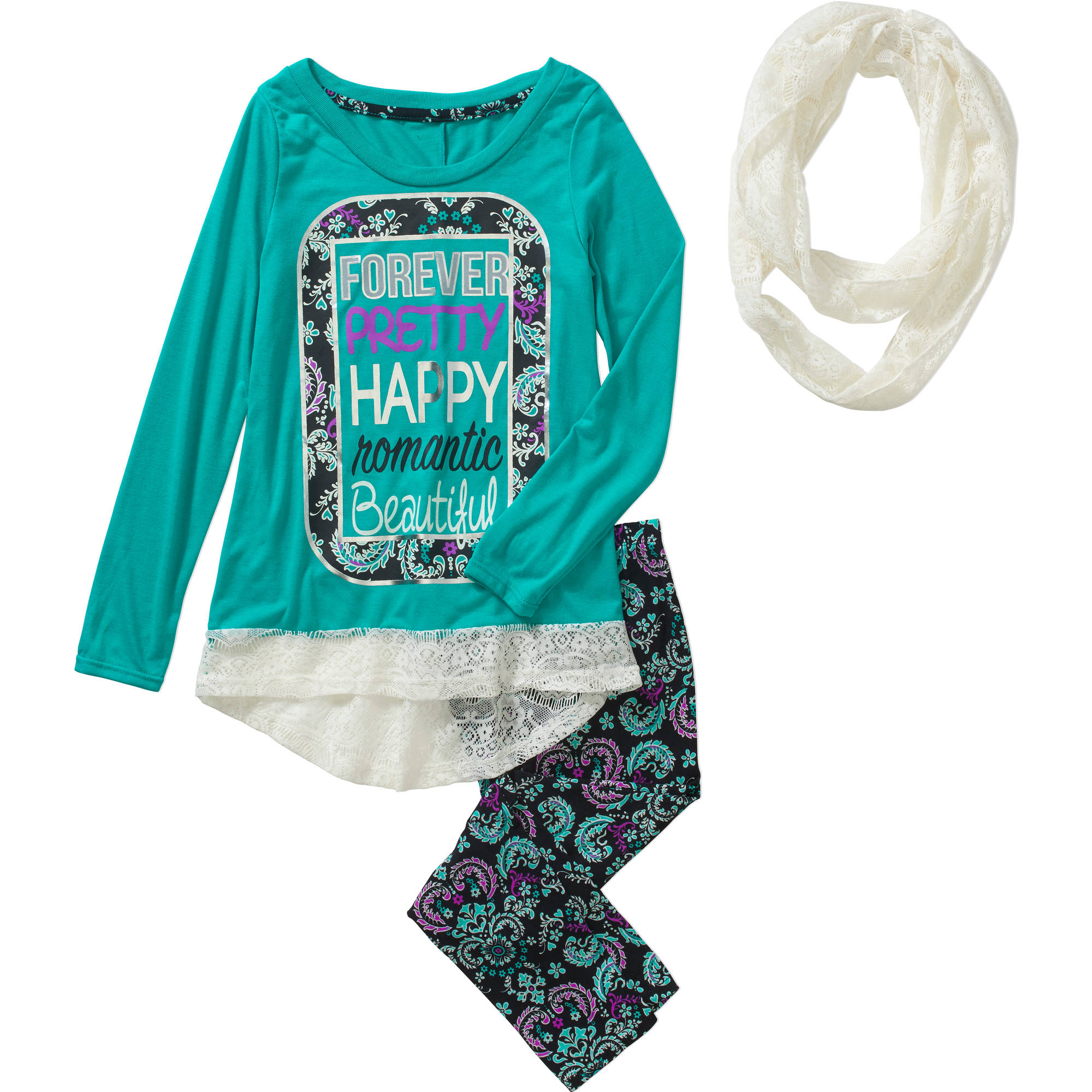 "One Step Up Girls' ""THAT Lace Scarf LIFE"" 3 Piece Top with Glitter Art & Lace Hem, Lace Scarf and Printed Leggings Set"