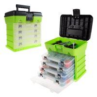 Storage and Tool Box- Durable Organizer Utility Box with 4 Compartments for Tools, Hardware, Small Parts and More by Stalwart (Red)