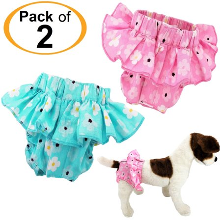 - PACK of 2 Dog Diapers Female SKIRT Ruffle Sanitary Pants Cotton For SMALL Pet Cat sz XS: waist: 8