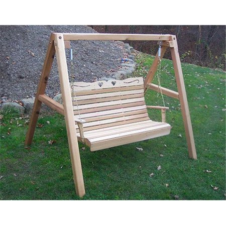 Creekvine Designs WF1015A50CVD 5 ft. Cedar Royal Country Hearts Porch Swing with - Heart Swing