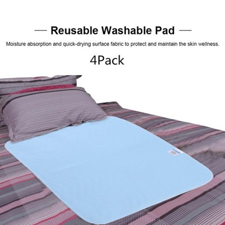 4 Pack Bed Pad Standard Reusable Underpad Washable For Adults Incontinence Pad Blue + White 45cm * 60cm,An Absorbent Incontinence Protection Pad 3 Ply Reusable Underpad