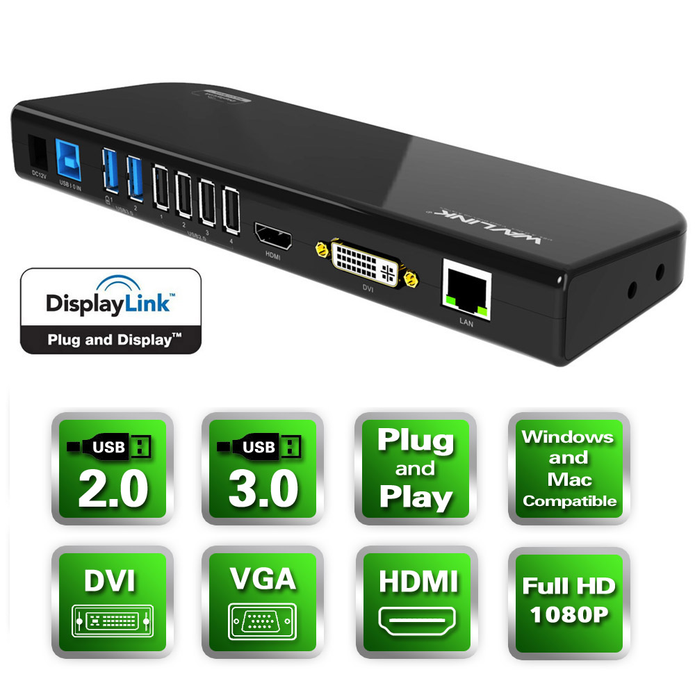 Wavlink USB 3.0 Universal Docking Station, Dual Video Monitor Display DVI & HDMI & VGA with Gigabit Ethernet, Audio, 6 USB Ports for Laptop, Ultrabook and PCs