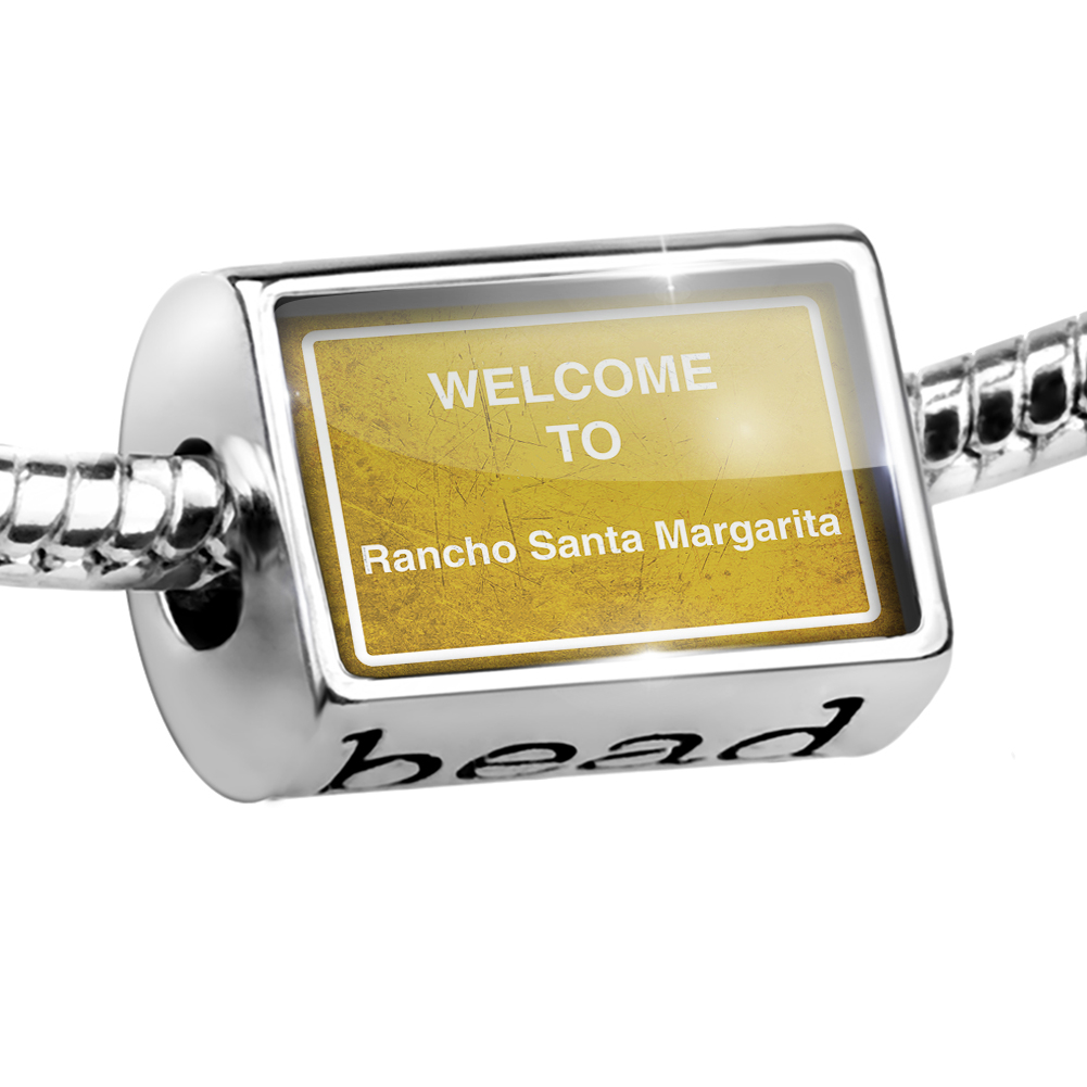 Bead Yellow Road Sign Welcome To Rancho Santa Margarita Charm Fits All European Bracelets