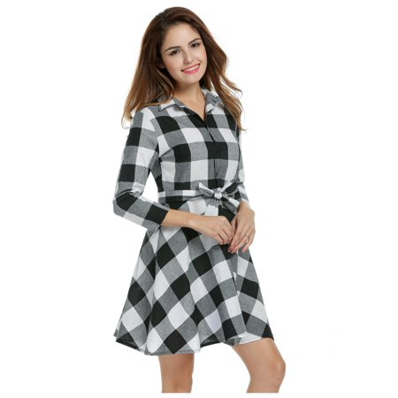 Women's Lapel Short Sleeve Plaid Pockets Casual Puffy Swing Dress - Puffy Dresses For Halloween