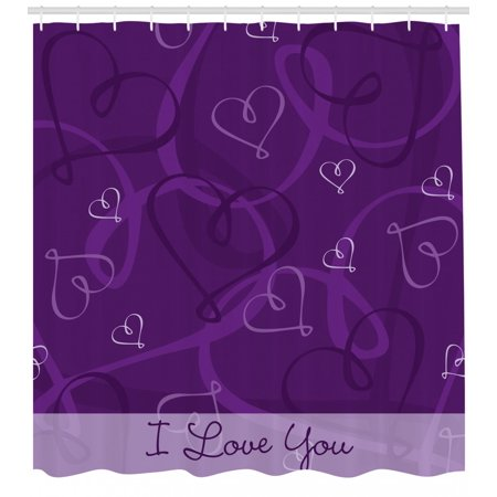 Romantic Shower Curtain Lavender Colored Themed Image With Hand Drawn Hearts Fabric Bathroom Set Hooks Eggplant Purple And Lilac