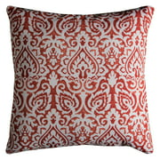 "Rizzy Home Decorative Poly Filled Throw Pillow Damask 22""X22"" Orange"