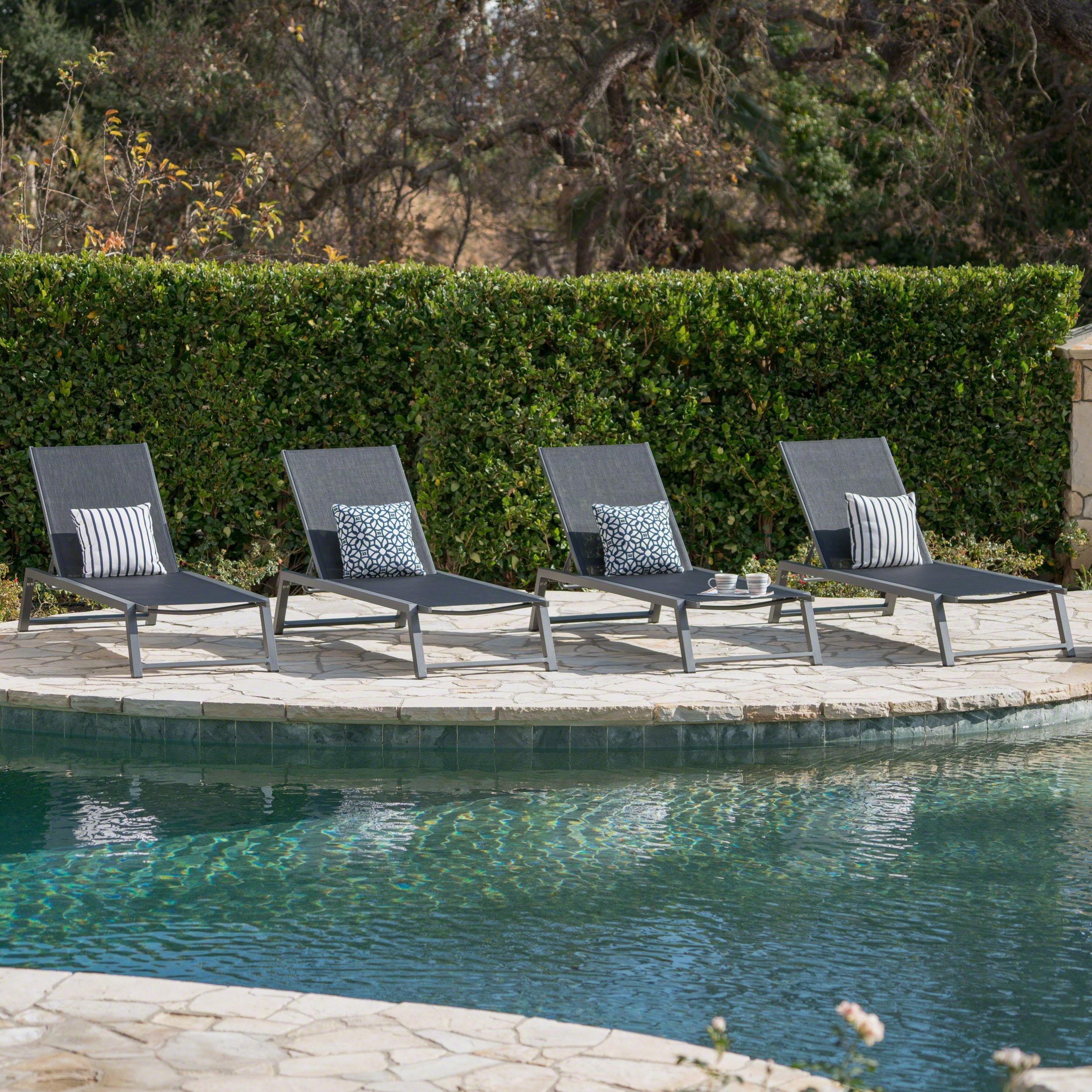 Monica Outdoor Aluminum Chaise Lounge, Set of 4, Grey, Black