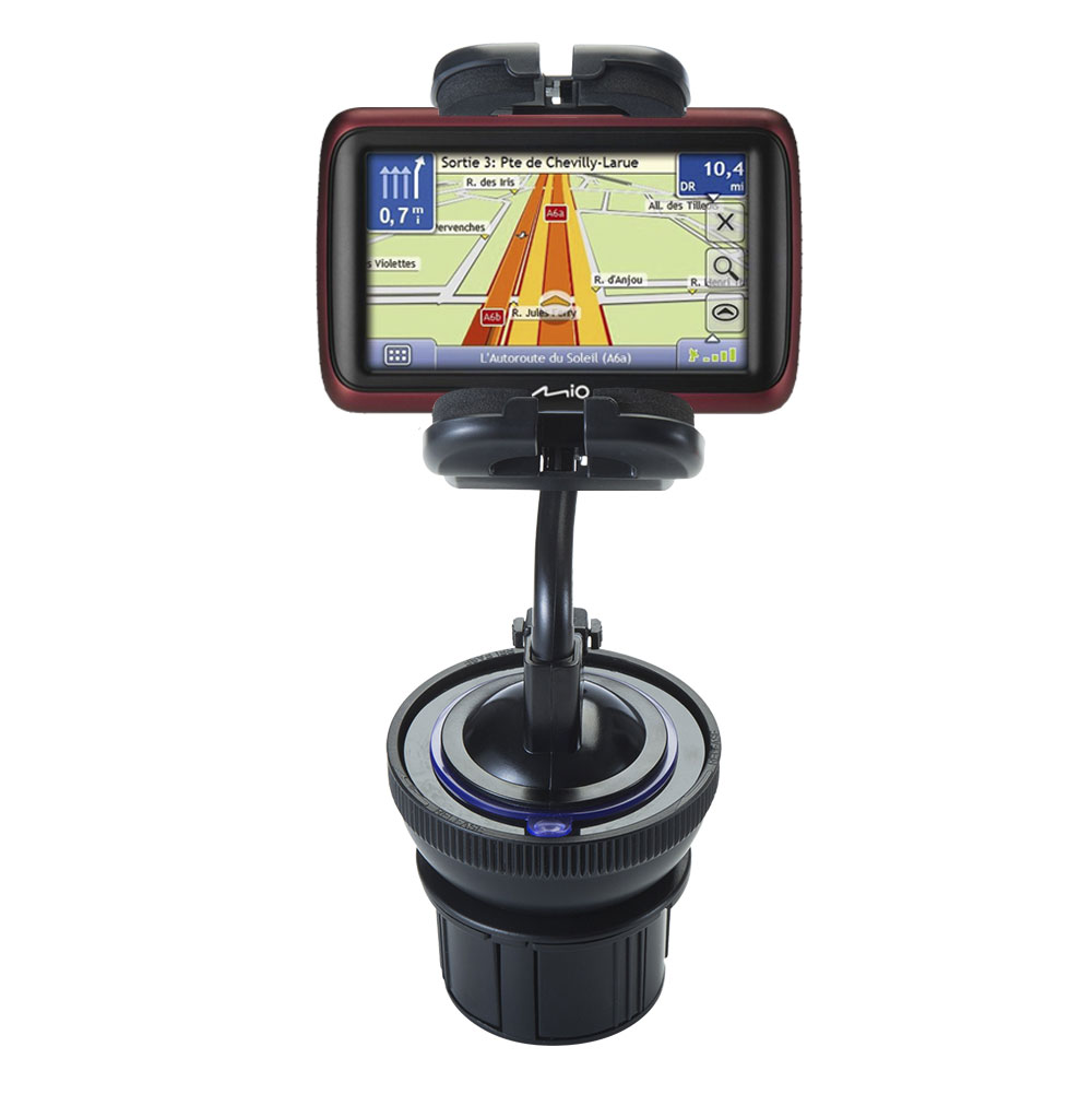 Unique Auto Cupholder and Suction Windshield Dual Purpose Mounting System for Mio Moov M401 - Flexible Holder System Includes Two Mount Options