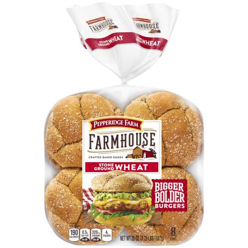 Pepperidge Farm Farmhouse Stone Ground Wheat Hamburger Buns, 20 oz. Bag, 8-pack