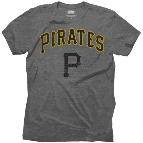 Pittsburgh Pirates Majestic Threads Granite Tri-Blend Crew T-Shirt - Gray