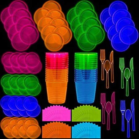 Neon Disposable Party Supplies Set, 32 Guest - 2 Size Plates, Tumbler Cups, Napkins, Cutlery | Glows Under Black Light or UV - Pink, Green, Blue, Orange | For Birthday, Clubs, 80s Festivals, and More - Discount Birthday Supplies