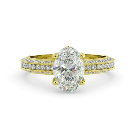 2.12 dwt Oval One Moissanite & Round Diamond Vintage Engagement Ring 14kYellowGold (Fake Oval Engagement Rings)