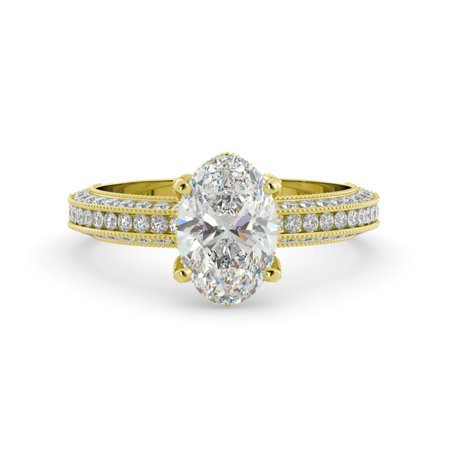 2.12 dwt Oval One Moissanite & Round Diamond Vintage Engagement Ring 18kYellowGold (Fake Oval Engagement Rings)