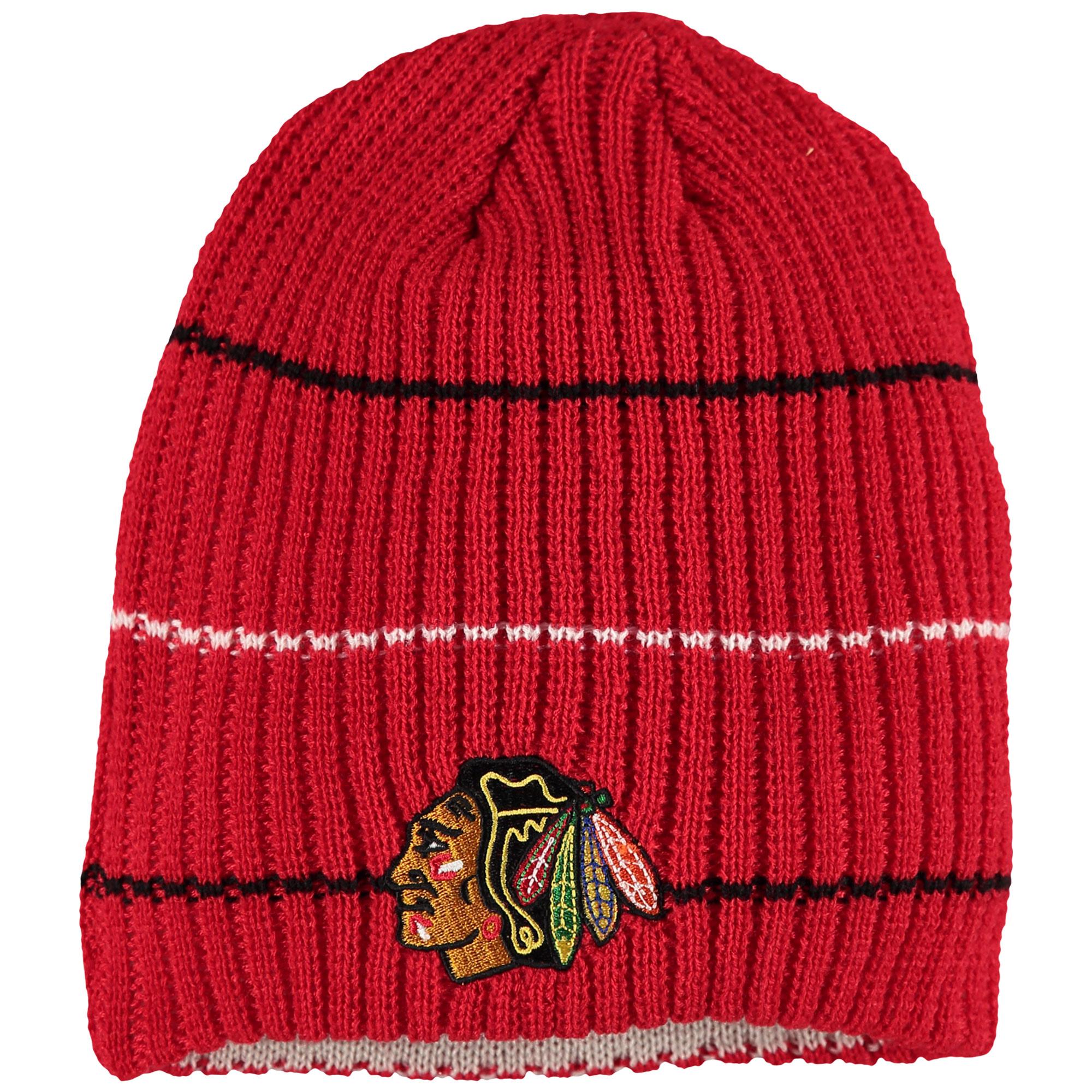 Chicago Blackhawks Reebok Face-Off Textured Stripe Beanie - Red - OSFA