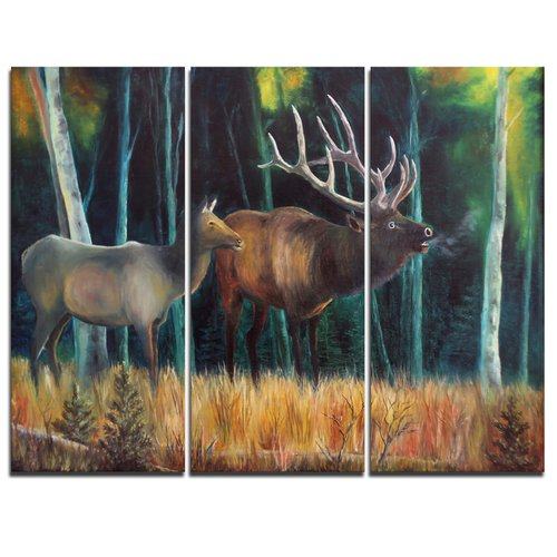 Design Art Wandering Deer in Forest - 3 Piece Graphic Art on Wrapped Canvas Set
