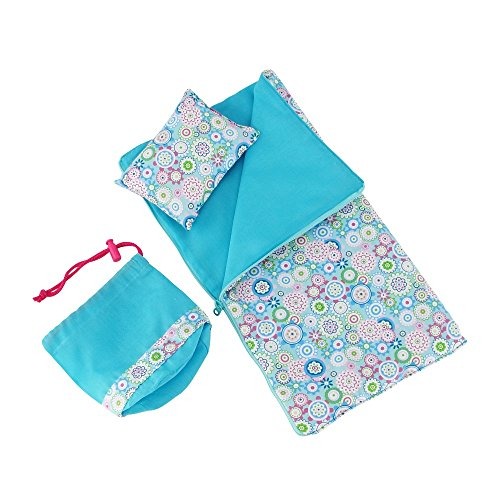 14 Inch Doll Accessories Bedding | Reversible Multicolored Geometric Flower Print Sleeping... by Emily Rose Doll Clothes