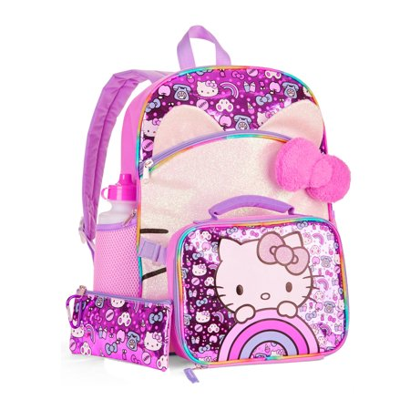 Bags Hello Kitty (Hello Kitty 5-Piece Backpack Set With Lunch Bag NEW 2018 for)