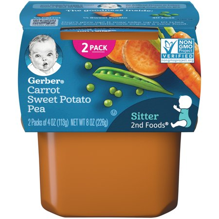 Gerber 2nd Foods Carrot Sweet Potato Pea Baby Food, 4 oz. Tubs, 2 Count (Pack of 8) - Sweet Pea Popeyes Baby