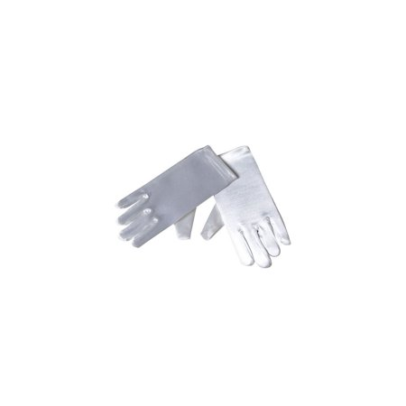 Dempsey Marie Child Size Long or Short Satin Formal Gloves in White or Ivory - Short Satin Gloves