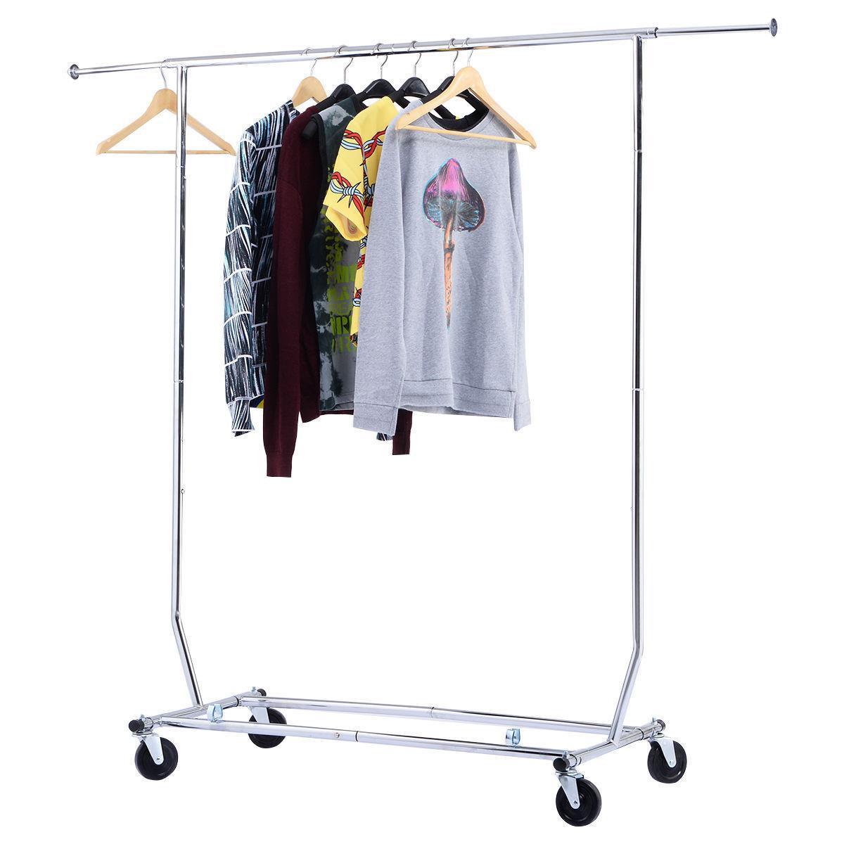 Ktaxon Adjustable Rail Garment Rack Heavy Duty Rolling Clothes Hanger Single Bar Hanging