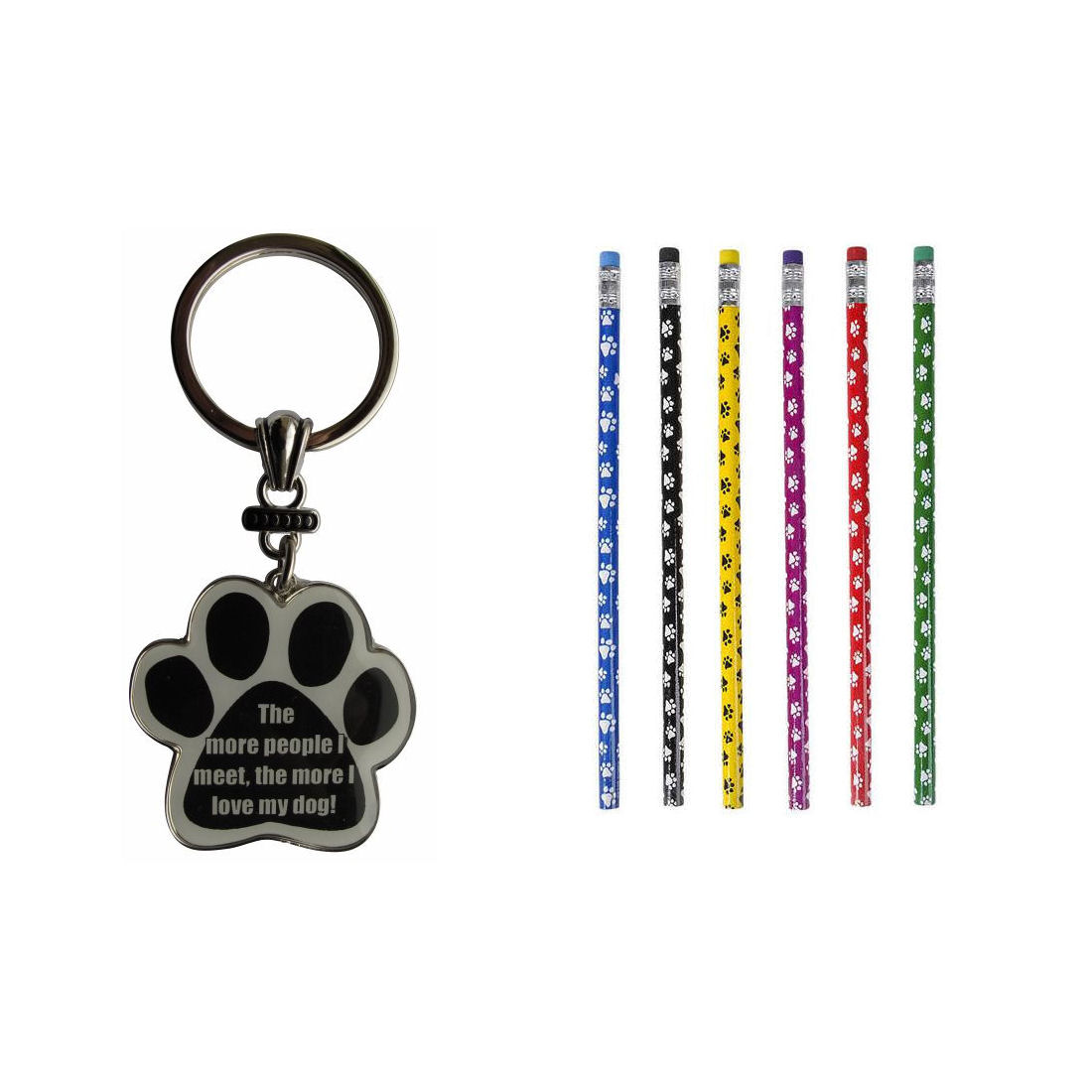 Bundle 2 Items: One (1) The more people I meet, the more I love my dogs! Paw Print Keychain and a Lot of Twelve (12) Paw Print Pencils