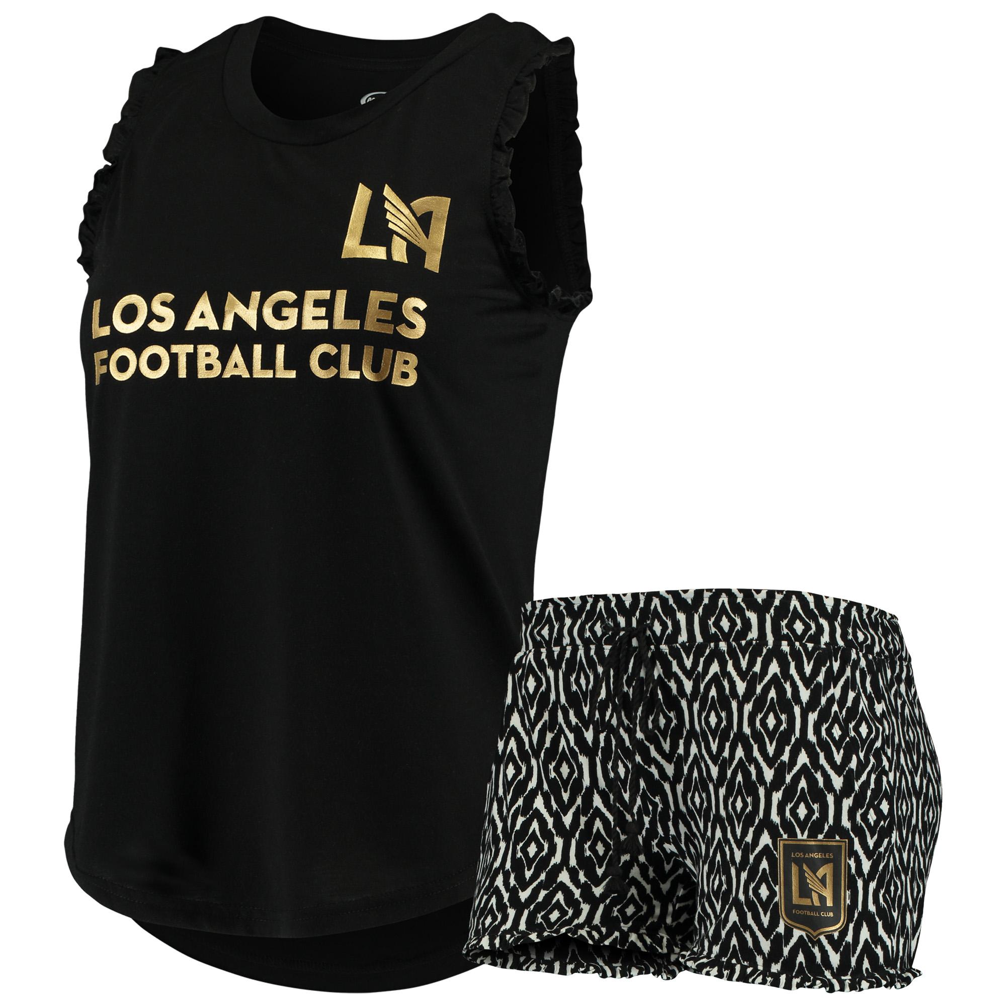 LAFC Concepts Sport Women's Unwind Tank Top & Shorts Pajama Set - Black/White