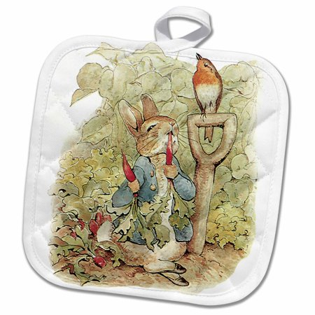 3dRose Peter Rabbit in the Garden - Vintage Art - Pot Holder, 8 by 8-inch - The Potholder