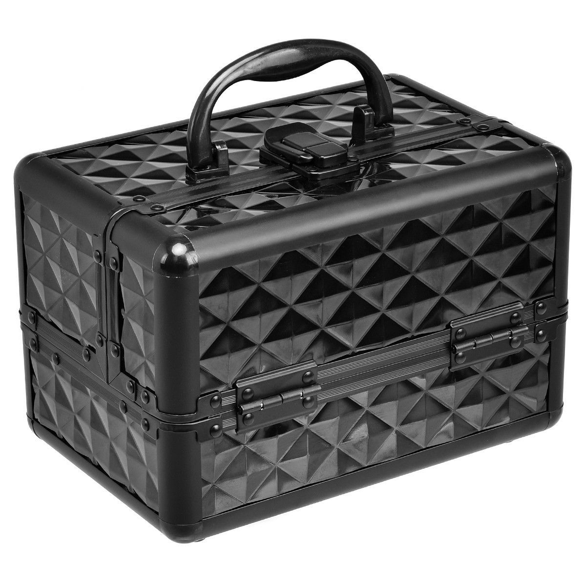 Gymax Makeup Organizer Cosmetic Case with Extendable Trays And Mirror Black
