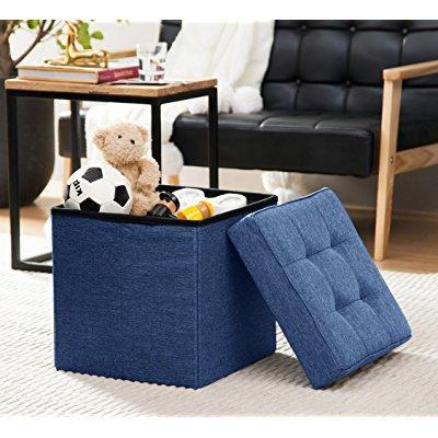 Ellington Home Foldable Tufted Linen Storage Ottoman Cube Foot Rest Stool Seat   15 X 15  Navy