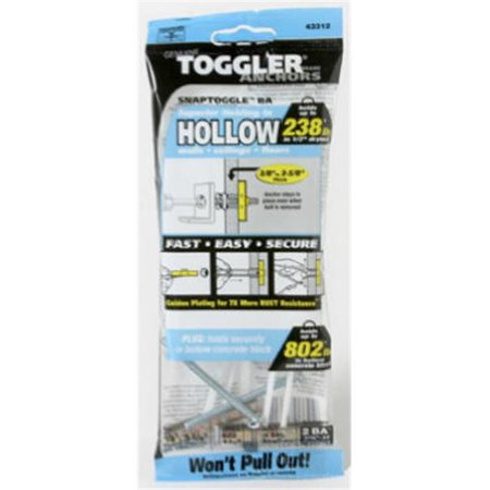 - Snaptoggle Hollow-wall Ba Toggle Bolts, 3/16-24