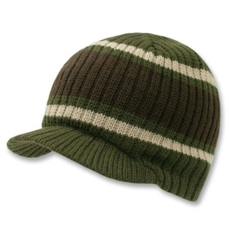 Olive Green Brown Striped Campus Visor Jeep Skull Knit Winter Beanie Cap Hat ()