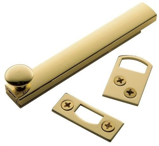 Baldwin  0322  Surface Bolt  Door Guard & Surface Bolt  Security Bolt  4 Inch  ;Non-Lacquered Brass
