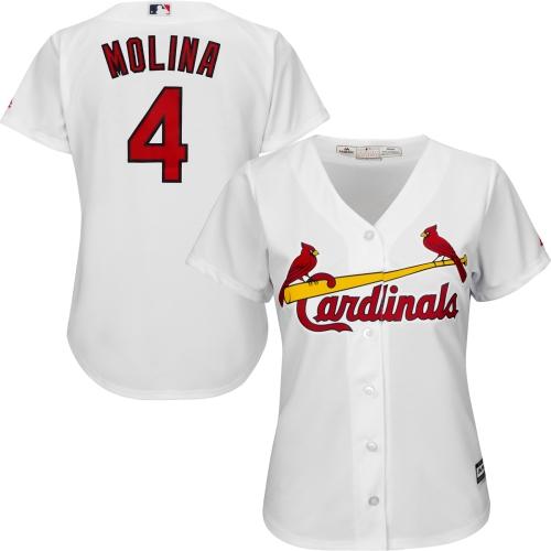Yadier Molina St. Louis Cardinals Majestic Women's Cool Base Player Jersey White by MAJESTIC LSG