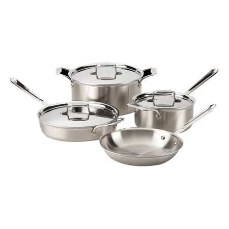 All-Clad BD005707-R D5 Brushed 18/10 Stainless Steel 5-Ply Bonded Dishwasher Safe Cookware Set, 7-Piece, (Best Nonstick Cookware 2019)