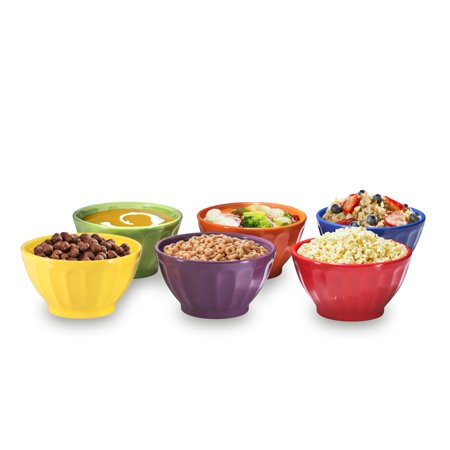 Groove Bowls - Cereal, Soup, Ice Cream, 14oz. Set of 6, Assorted Colors By