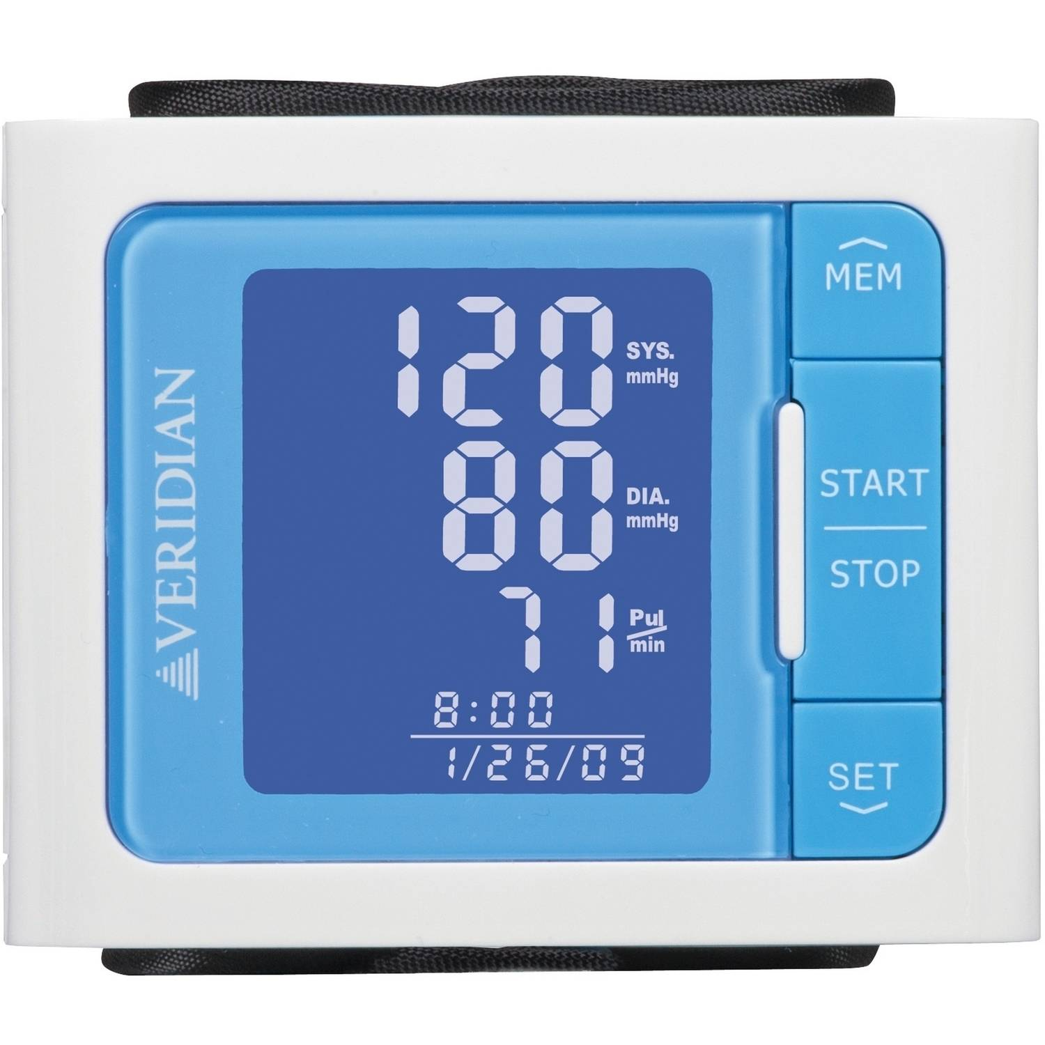 Veridian Vibrant Color Style Blood Pressure Wrist Monitor, Blue